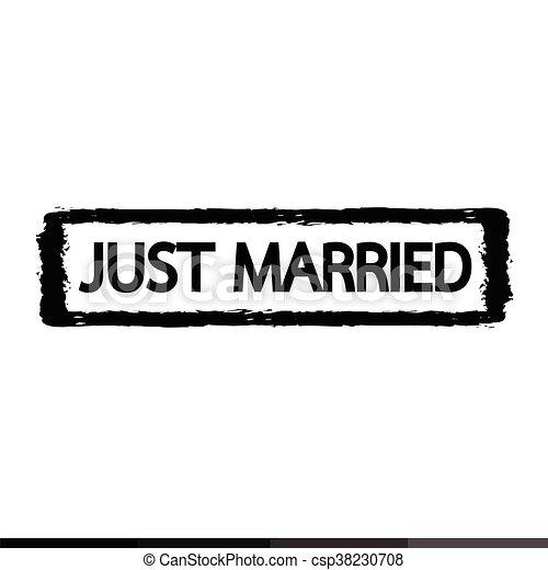 Grunge just married rubber stamp illustration design - csp38230708