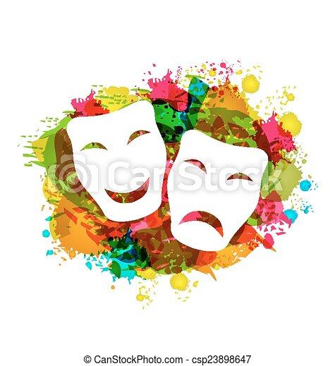 grunge, karnawał, barwny, prosty, maski, komedia, tragedia - csp23898647