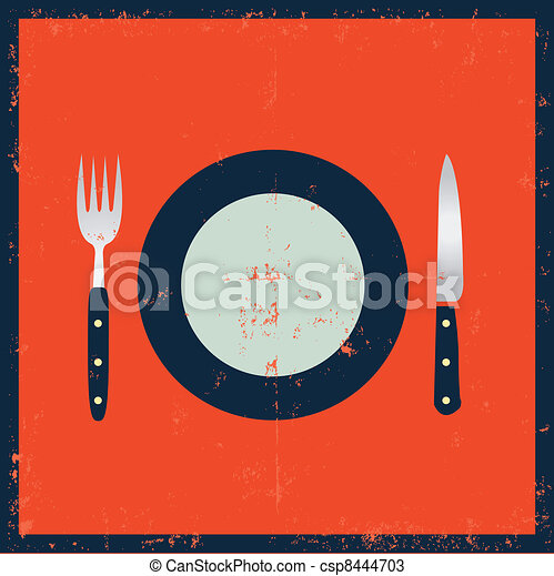Grunge Kitchenware - Fork, Knife And Plate - csp8444703