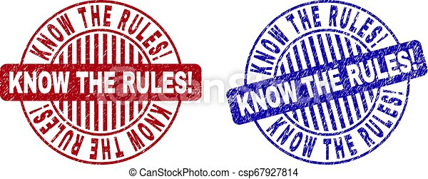 Grunge KNOW THE RULES! Textured Round Stamps - csp67927814