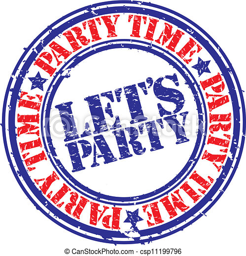 Grunge let's party rubber stamp, ve - csp11199796