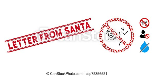 Grunge Letter from Santa Line Seal with Mosaic No Mail Courier Icon - csp78356581