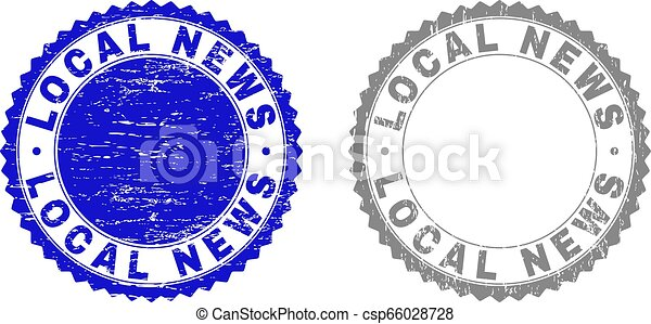 Grunge LOCAL NEWS Scratched Stamps - csp66028728
