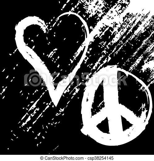 grunge love peace, vector design - csp38254145