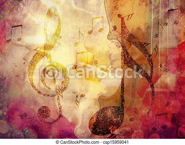 grunge, música, fundo - csp15959041
