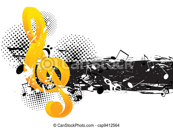 grunge, música, fundo - csp9412564