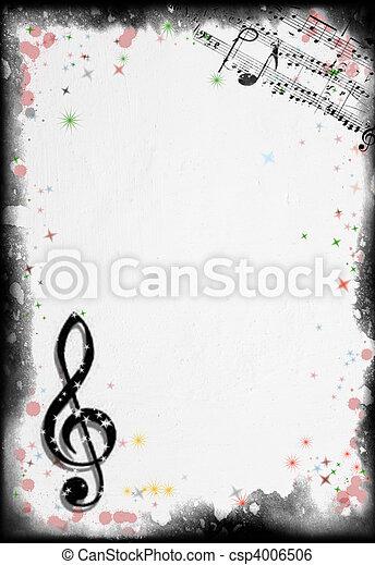 grunge, música, plano de fondo - csp4006506