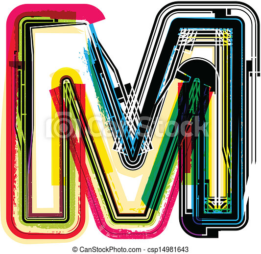 grunge, m, colorito, lettera - csp14981643