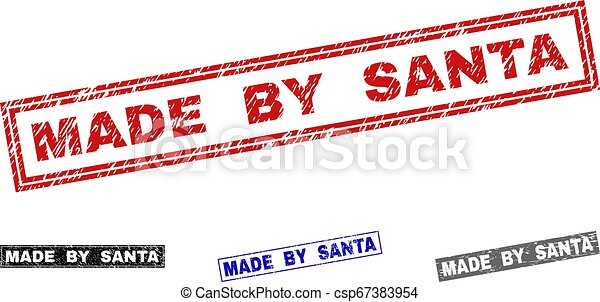 Grunge MADE BY SANTA Scratched Rectangle Stamps - csp67383954