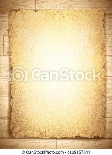 grunge, madeira, vindima, papel, fundo, queimado - csp9157841