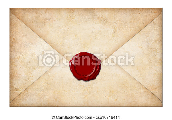 grunge mail envelope or letter with wax seal isolated on white - csp10719414