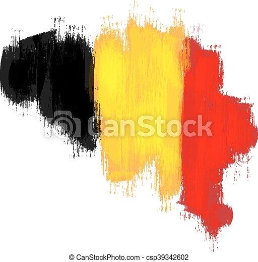 Grunge map of Belgium with Belgian flag - csp39342602