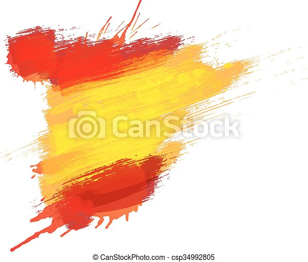 Grunge Map Of Spain With Spanish Flag Canstock