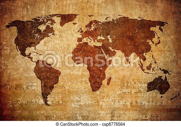 grunge map of the world - csp8776564