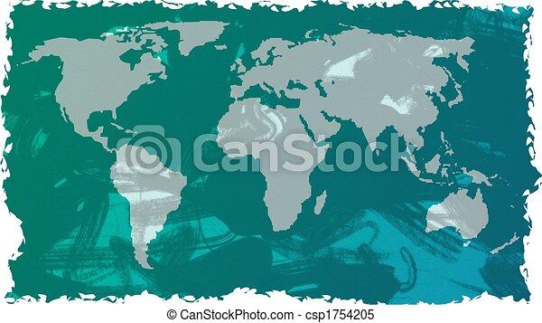 Grunge map grunge style green world map background design stock grunge map csp1754205 gumiabroncs Gallery