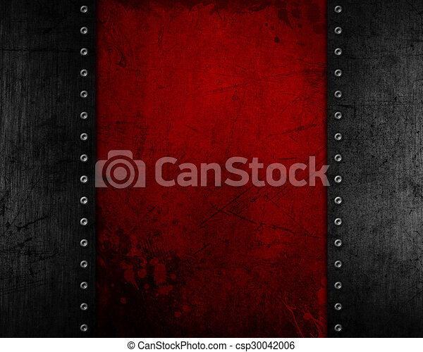 Grunge Metal Background With Red Distressed Texture