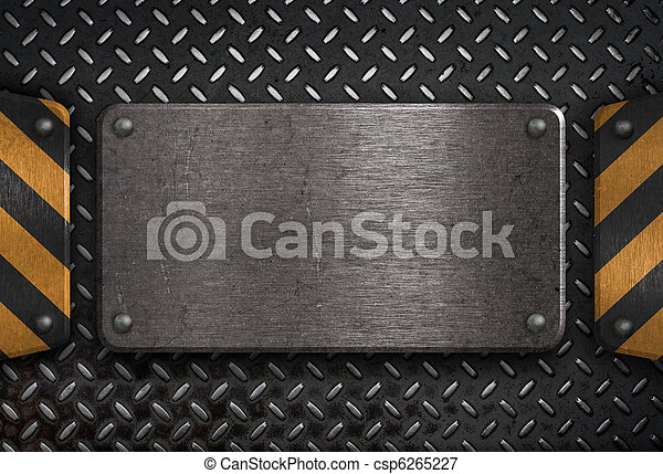 grunge metal plate with yellow warning stripes - csp6265227