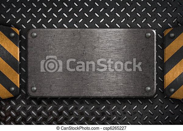 grunge metal plate with yellow warning stripes - csp6265227