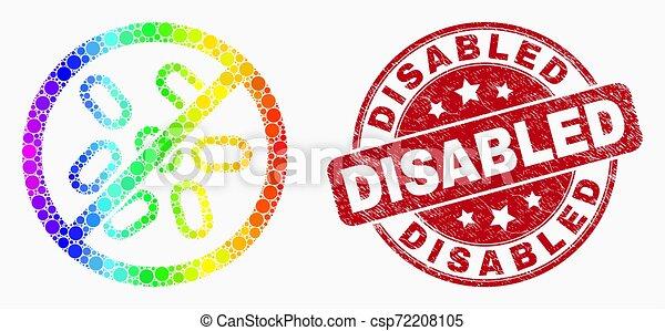 grunge, microbi, fermata, spettro, invalido, vettore, sigillo, pixel, icona - csp72208105
