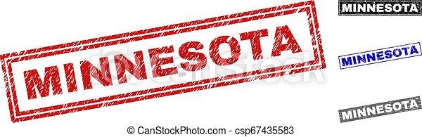 Grunge MINNESOTA Textured Rectangle Stamps - csp67435583