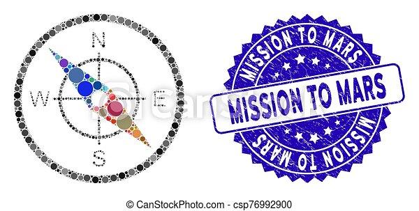 grunge, misión, collage, icono, compás, marte, sello - csp76992900