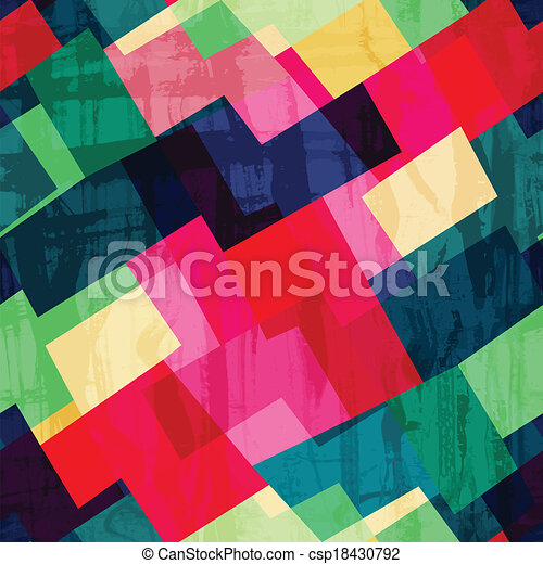grunge mosaic seamless pattern with blob effect - csp18430792