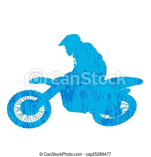Grunge motocross racer silhouette - csp25286477