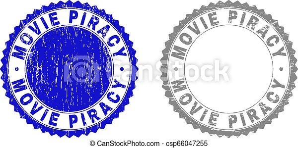 Grunge MOVIE PIRACY Textured Stamp Seals - csp66047255