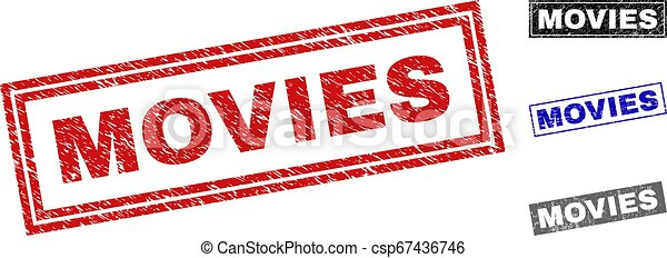 Grunge MOVIES Scratched Rectangle Stamp Seals - csp67436746