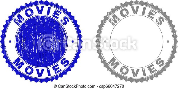 Grunge MOVIES Scratched Stamps - csp66047270