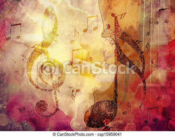 Grunge music background - csp15959041