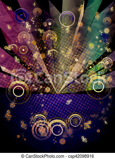 Grunge Music Background with Music Notes - csp42098916