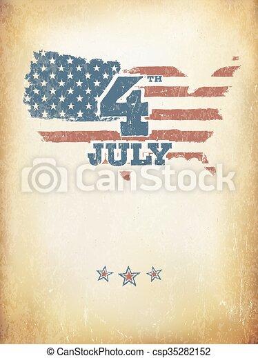 El grunge envejeció la bandera americana. La plantilla del vector. - csp35282152