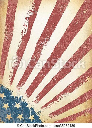 grunge, norteamericano, fondo., bandera, vector, viejo, template. - csp35282189
