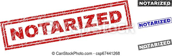 Grunge NOTARIZED Textured Rectangle Stamp Seals - csp67441268