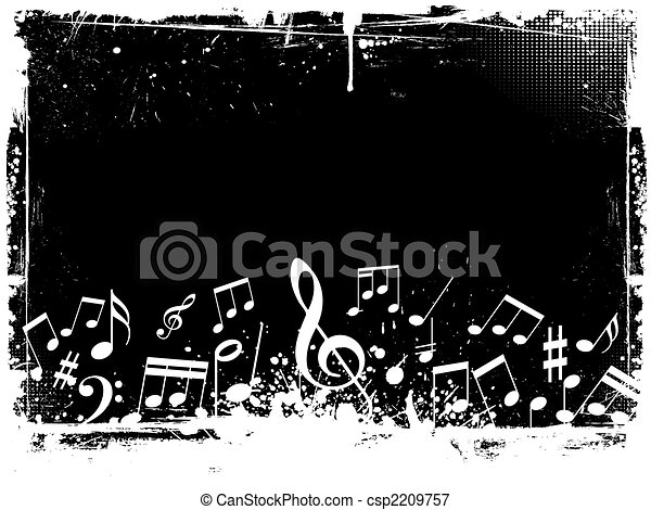 grunge, notas, música - csp2209757