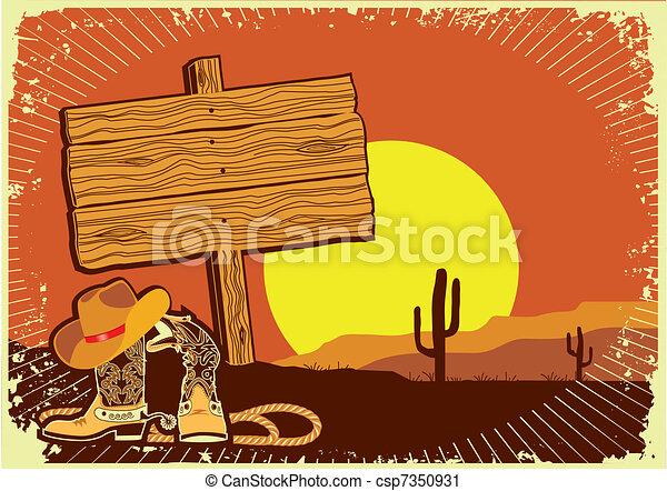 Paisaje del vaquero. Grosero salvaje del oeste del atardecer - csp7350931