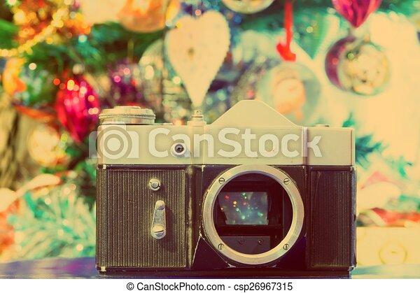 Grunge Camera Effect : Cinema film background vintage effect camera with clapperboard
