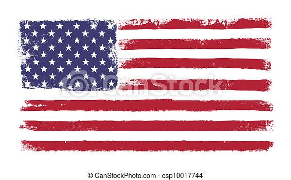 """grunge, """"old, vlag, 50, amerikaan, versie, vector, colors., sterretjes, stripes., 10., glory"""", eps, origineel - csp10017744"""