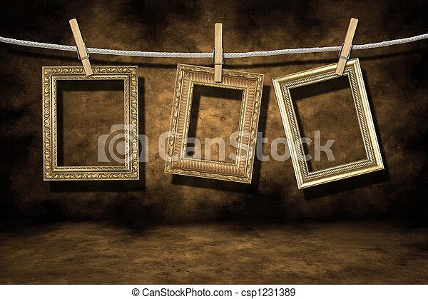 grunge, oro, afflitto, foto, fondo, cornici - csp1231389