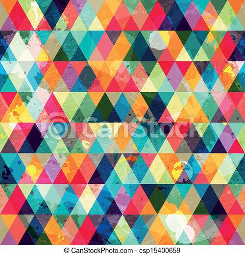 grunge, padrão, triangulo, colorido, seamless - csp15400659
