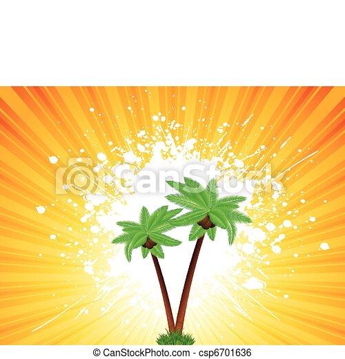 grunge, palmträdar, bakgrund - csp6701636