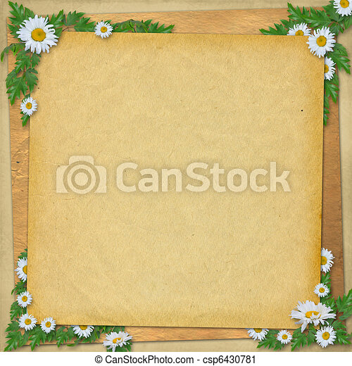 Grunge paper in scrapbooking style with bunch of daisy - csp6430781