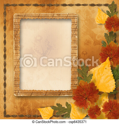 Grunge papers design in scrapbooking style with autumn foliage - csp6435371