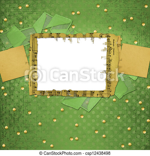 Grunge papers design in scrapbooking style with frame - csp12438498