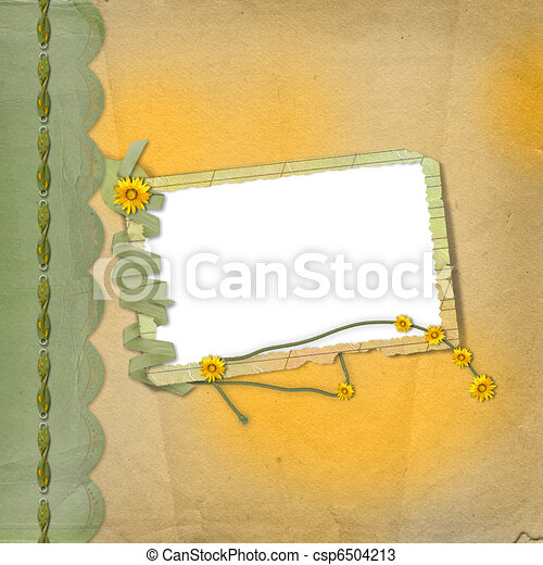 Grunge papers design in scrapbooking style with frame and bunch of flowers - csp6504213