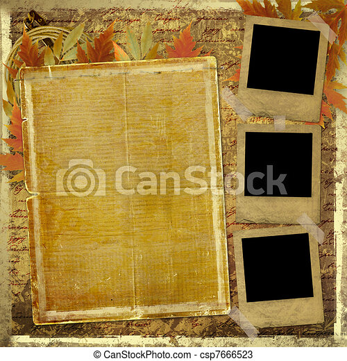 Grunge papers design in scrapbooking style with foliage and blank for text - csp7666523