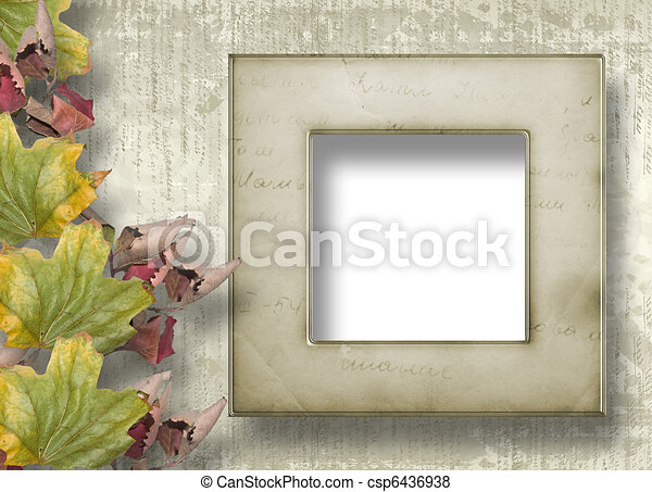 Grunge papers design in scrapbooking style with frame and foliage - csp6436938