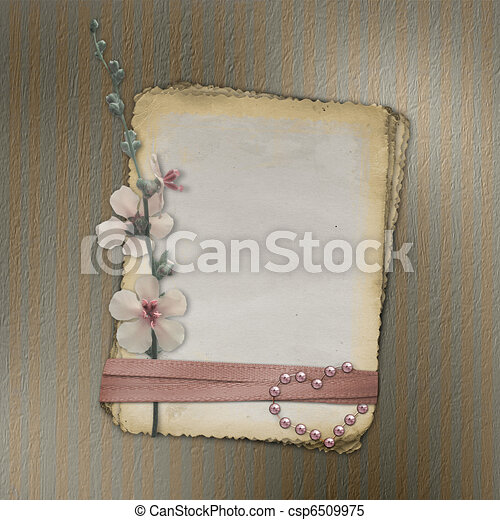 Grunge papers design in scrapbooking style with flower. - csp6509975
