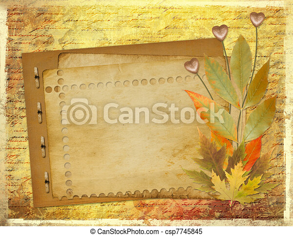 Grunge papers design in scrapbooking style with foliage and hearts - csp7745845
